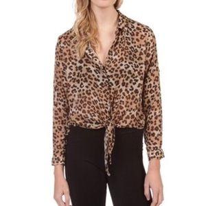 Bella Dahl leopard tie front button down nwot